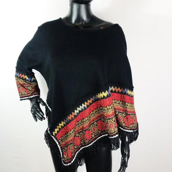 Adore Sweaters - [ADORE] Bohemain Asymmetric One Arm Poncho